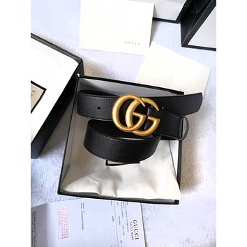 GUCCI Classic Popular Woman Men Smooth Buckle Belt + Gift Box Black