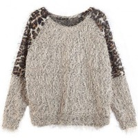 Leopard Feather Yarn Sweater Grey ( color) style sweater418 in  Indressme