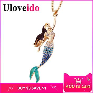 Uloveido Purple Blue Red Mermaid Necklace Women Pendant Long Necklaces Crystal Jewelry Gifts Dropshipping by E-packet YS841 10%