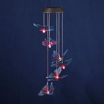 Butterfly LED Solar Panel Wind Chime Nightlight Color Changing Solar Lamp Living Yard Garden Home Hanging Decoration Ornaments