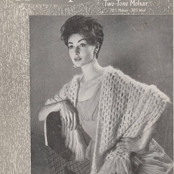 1950's Stole And Girl's Hood | Original Vintage Knitting Pattern | Munrospun 7068 | Woman's Mohair Wrap Shawl | Girl's Hat Bonnet
