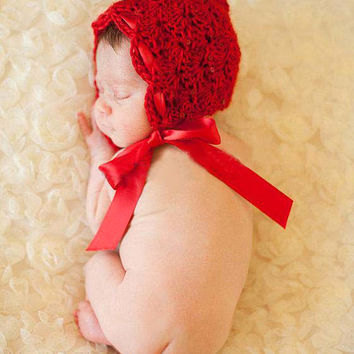Little Red Riding Hood. Hand Knitted Newborn Babies Red Hat Photo Prop. Gift