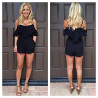 Ruffled Up Off Shoulder Romper - BLACK