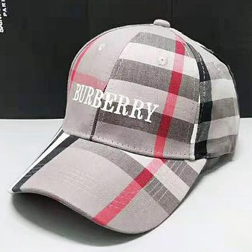 Burberry Fashion New Plaid Embroidery Letter Women Men Cap Hat Gray