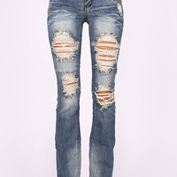 Distressed Bootcut Jeans - Medium Denim