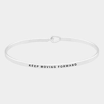 """Keep Moving Forward"" Brass Thin Metal Hook Bracelet"
