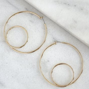 Double Hoop Earrings - Gold Tone