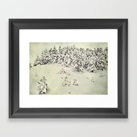 Snowy forest. Vintage Framed Art Print by Guido Montañés