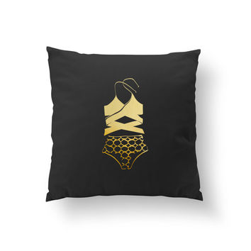 Swimsuit Pillow, Cushion Cover, Fashion Chic, Decorative Pillow, Fashion Pillow, Summer Fashion, Throw Pillow, Fashion Illustration