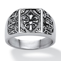 Men's Cross and Crest Signet Ring in Stainless Steel