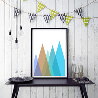 Mountain Print , Mint Green Triangle Wall Art Print, Geometric Mountains, Mint Green Print, Green Geometric Art, Green Mountain Print *172*