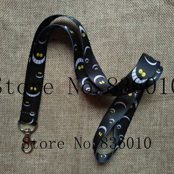 Hot Sale! 10 pcs Popular Alice in Wonderland  Cat  Lanyard Key Chains Pendant    Gifts Party Favors S-140