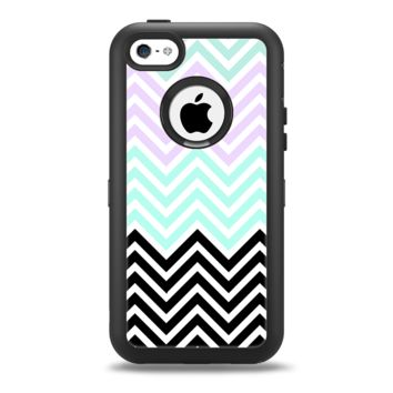 The Light Teal & Purple Sharp Black Chevron Apple iPhone 5c Otterbox Defender Case Skin Set