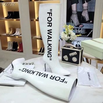 New style Off-white  Women Casual Shoes Boots  fashionable casual leather