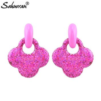 Sehuoran 2018 Summer New Color Drop Earrings For Woman Brincos Pendients Drip Oil Party Earrings Fashion Jewelry