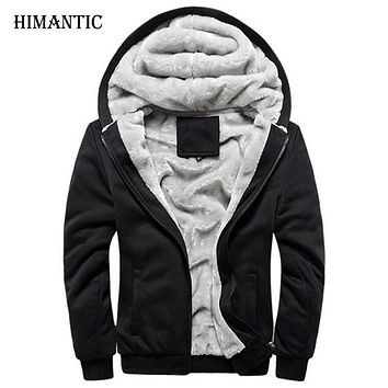 Winter Warm Hoodies Men Sweatshirts Sportswear Jacket Fleece Hoodie Coat