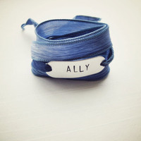 Gay Rights Bracelet for The Ally Coalition - Silk & Metal Hand-Stamped Wrap Bracelet - Blue