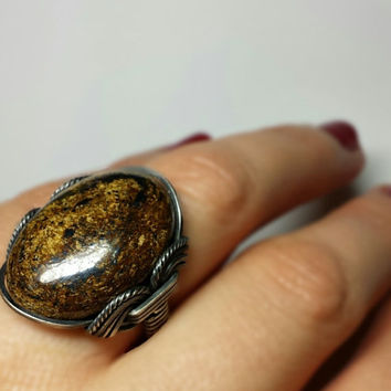 SALE Gold Bronzite Ring, Dark Sterling Silver, Coffee Brown Petite Statement, Handmade Winter Accessories, Spring Jewelry
