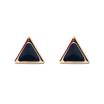 Dainty Doll Collection Black & Gold Stud Triangle Geometric Earrings