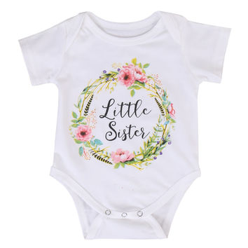 Baby Girls Cotton Jumpsuit Outfits Clothes Cute Baby Kid Girl Little Big Sister Clothing Tops Bodysuits
