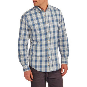 Faded Glory Men's Long Sleeve Chambray Shirt, Small, Blue Lake Combo