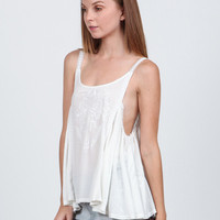 (amu) Embroidered lace straps white cami
