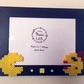 4x6 or 5x7 Black Picture Frame with Mr. & Ms. Pacman Perler Made- Geekery- Nerd Love- Retro
