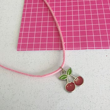90s Grunge Baby Pink Cherry Choker Necklace / Faux Suede Cord