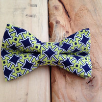 Navy and green bow tie