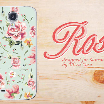 Samsung galaxy note3 Rose Floral Pattern soft rubber case light green galaxy S4 tough case,galaxy S5 flower Galaxy Note2 case,galaxy S3 case
