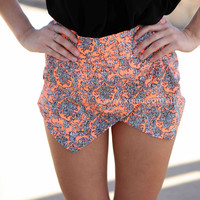 PAISLEY PRINT SKORTS , DRESSES, TOPS, BOTTOMS, JACKETS & JUMPERS, ACCESSORIES, 50% OFF SALE, PRE ORDER, NEW ARRIVALS, PLAYSUIT, COLOUR, GIFT VOUCHER,,SHORTS,Print,Orange,MINI Australia, Queensland, Brisbane