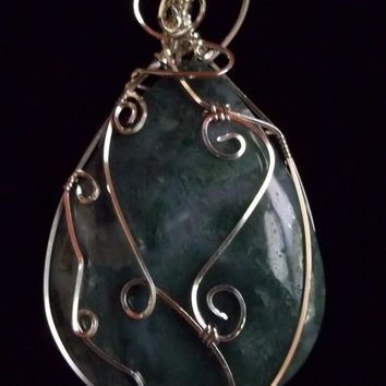 Wire Wrapped Moss Agate Gemstone Pendant
