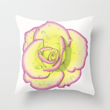 Rose - After the Rain Throw Pillow by drawingsbylam