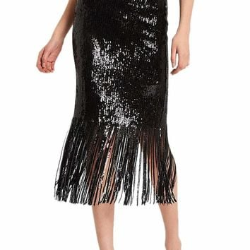 Black Sequin Fringe Midi Skirt