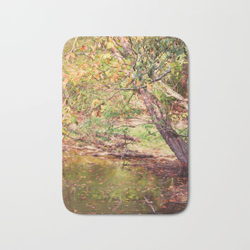 Autumn At Hickory Ridge Pond Bath Mat by Theresa Campbell D'August Art