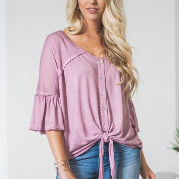 Breezy Flutter Button Up Knot Top | Pink Mauve