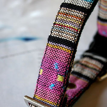 Mexican Tribal striped woven Dog Collar -Q- pink, blue