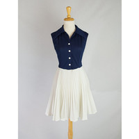 Vintage Navy & White Shirtwaist Sailor Dress Full Accordion Pleat Skirt Too Cute!