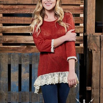 Southen Grace The Simple Tunic with Floral Lace Trim in Rust