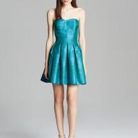 AQUA Dress - Strapless Metallic Snakeskin Jacquard Fit and Flare | Bloomingdales's