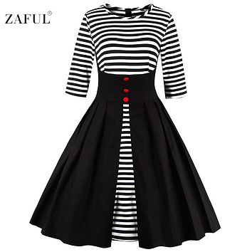 ZAFUL Women plus size Vintage dress hepburn 50s elegant long sleeve stripe robe feminino Ball Gown Party Retro Dress Vestidos