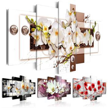 Fashion Wall Art Canvas Painting 5 Pieces Mangnolia Flower Orchid Flower Modern Home Decoration,Choose Color And Size No Frame