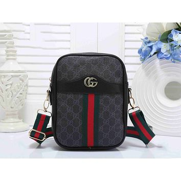 Gucci Trending Women Stylish Leather Red Green Stripe Shoulder Bag Crossbody Satchel Handbag Full Black I-KSPJ-BBDL