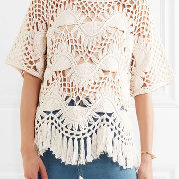 Chloé - Fringed crocheted cotton and silk-blend top