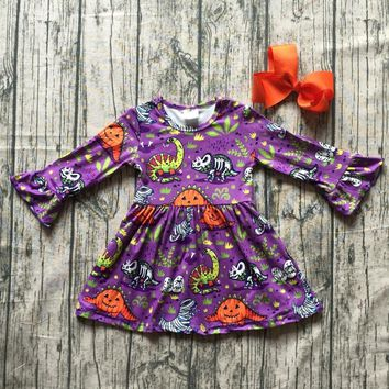 baby girls Fall/ Autumn dress girls Jurassic park dress children girls milk silk dragon dress long sleeve dress with bows