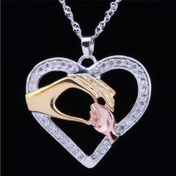 Mother Baby Daughter Son Child Family Love Heart Hand In Hand Pendant Chain CZ Crystal Necklace Jewelry Moms Birthday Gift HN172