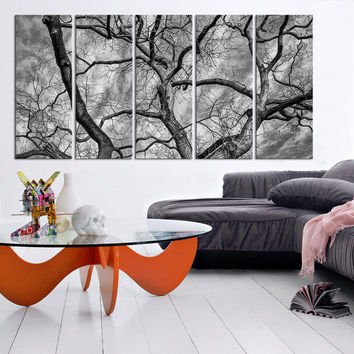 Large Wall Art Autumn and Dead Wood Canvas Print | Black White Tree Canvas Print | Dead wood Canvas Printing
