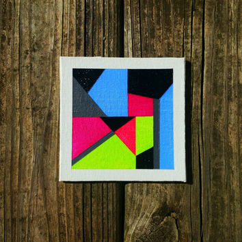 Geometric Contemporary Tiny Canvas Art Abstract OOAK Acrylic Wall Art Original Minimalist Home Decor Painting