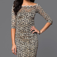 Lace Midi Dress, Three-Quarter-Sleeve