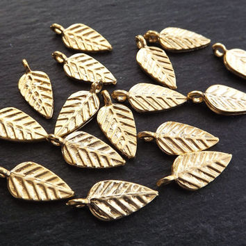 Stamped Leaf Drop Charms Autumn Leaves Fall 22k Matte Gold Plated Turkish Jewelry Making Supplies Findings Components - 15pc